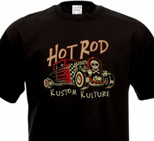 New Fashion Men Short Sleeve T Shirt Cotton T-Shirt HOT ROD - KUSTOM KULTURE Vintage Muscle Car  Men's Short Sleeve Tees