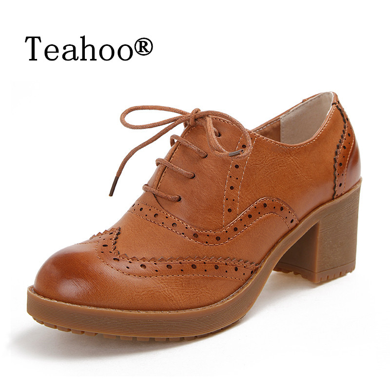 High Heels Oxford Shoes For Women Autumn Thick Heel Women Pumps Shoes Brogues Oxford Woman Casual Platform Shoes British Style<br>