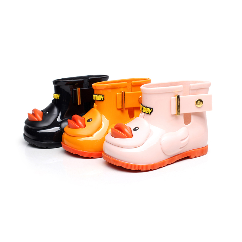 hot 2017 Mini Melissa Ducks Girls Rain Boots Super Cute Children jelly Boots Boys Baby Kids Rain Boots Water Shoes summer Fall<br>