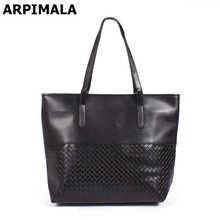 ARPIMALA Promotion cheap ladies handbags black leather woman hand bags knitting casual female High quality tote bags for women(China)