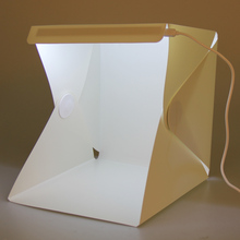 Portable Light Room Photo Backdrop Box with LED Light Mini Cube Studio Little Items Photography Box Tent Kit 22.6x23x24cm