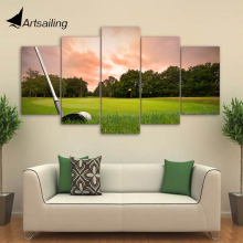 HD Printed 5 Piece Canvas Art Golf Club Painting Framed Modular Sunset Poster Wall Pictures Home Decor Free Shipping CU-2416A(China)