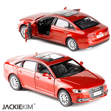 High Simulation 1:32 Audi A6L Alloy Car Model Metal Diecasts Toy Vehicles With Pull Back Flashing Sound For Kids Toy Gifts(China)