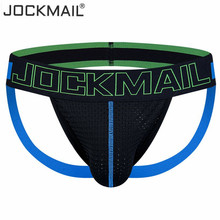 Buy Brand Sexy Men Underwear Thong Jockstrap Gay Underwear penis pouch Mesh Breathable tanga hombre slip G Strings Low Waist Hot