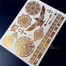 angel wing golden flower bracelets design Fashion Indian Mehndi Sexy women body art Paint Taty HYS-48 Temporary Tattoo Stickers
