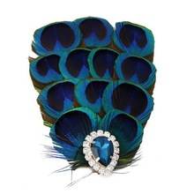 2016 Hot Sale Vintage Elegant Women Wedding Bridal Feather Fascinator Party Hair Clip Peacock Blue