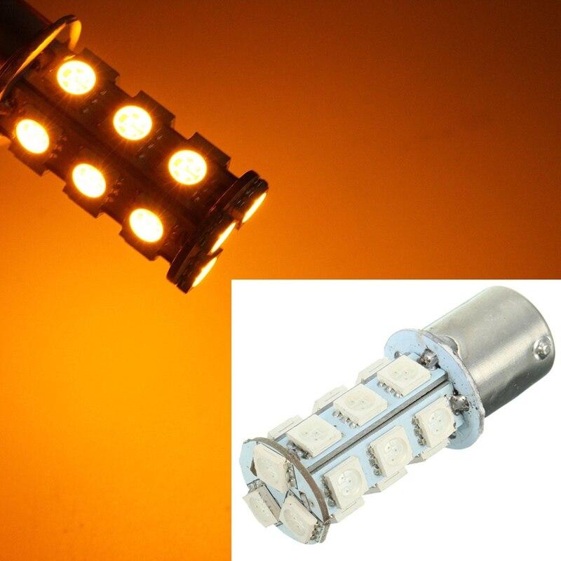 18 SMD 5050 LED Bulb Turn Signal/Brake/Reverse/Parking Light Yellow 150 Degrees BAU15s/1056/7507/PY21W Auto Led Bulb 12V<br><br>Aliexpress