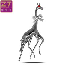 Zhen Tomomi Hot Exquisite Vivid Animal Bowknot Gentleman Giraffe Crystal Brooch Pins Clips Birthday Party For Women Jewelry