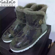 G&Zaco Luxury Brand Sheepskin Boots Buckle Ankle Genuine Leather Snow Boots Button None Slip Waterproof Women's Shoes Wool Boot