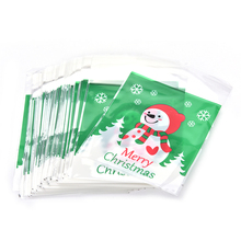 100Pcs Plastic Bag Xmas Party Decor Mini Snowman Food OPP Material Packaging Bags Cookie Candy Self-adhesive Biscuits Cake(China)
