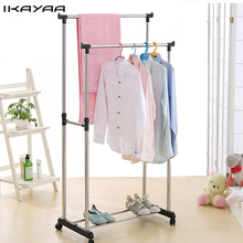 iKayaa US FR UK Stock Adjustable Steel Double Rail Clothes Garment Dress Hanging Rack Satnd Organizer on Wheels Shoes Rack(China)