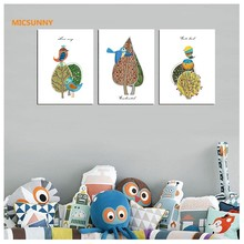 MICSUNNY Nordic Abstract Cartoon Bird Pictures Canvas Prints Wall Art Painting Love Unframed Poster Art Modern Home Decor(China)