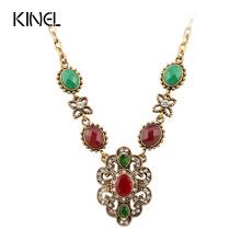 Kinel Women's Sweater Accessories Bohemia Style Vintage Antique Gold Color Resin Pendant &Necklace Statement(China)
