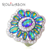 Gorgeous Rings Mystic Zircon Design Silver Stamped Luxury Wedding Fashion Jewelry Ring USA Size #6#7#8#9#10 JR2112