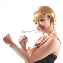 Blonde fiber synthetic hair with medium braid fanshion straight wig  Halloween Carnival  Day cosplay wigs