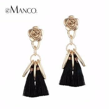 EManco 5 couleurs Élégant Long Gland Suspendu Boucles D'oreilles pour Femmes Noir Rétro Fleur Balancent de Baisse Boucle D'oreille De Mode Bijoux