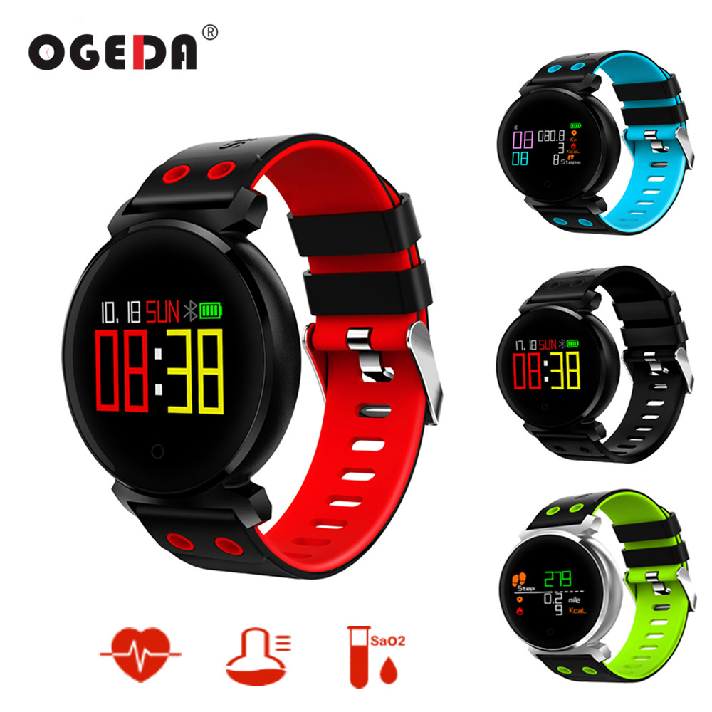 OGEDA Men Smart Watch Blood Pressure Heart Rate Monitor Blood Oxygen Detection Waterproof Multilingual Push Smart Bracelet K2<br>