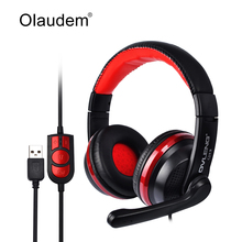 Headphones Headset Earphone USB Wired Stereo Head Phone Microphone for Game Computer Mobile Phones Tablet PC Headphone Q13
