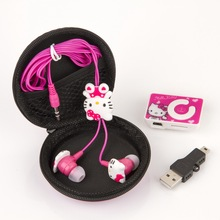Cartoon Mini Hello Kitty MP3 Music Player Cheapest Clip MP3 Player Support TF Card With Hello Kitty 3.5mm Jack Music Earphone