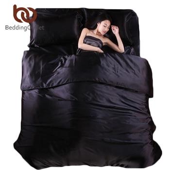 BeddingOutlet Silk Quilt Black Satin Sheets Bed Linen Cotton Solid Satin Duvet Cover Set King Size Bedsheet 4pcs of Bedding Sets