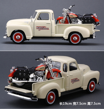 High simulation Harley pickup,1:24 scale alloy Harley pickup + motorcycles,Collection car model,free shipping