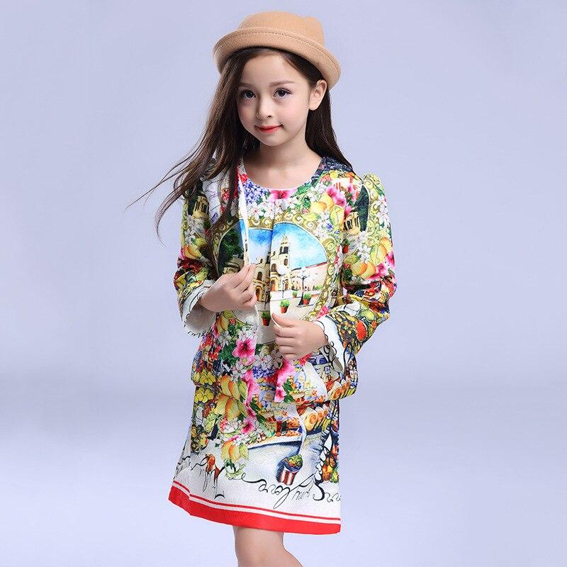 2017 autumn winter childrens clothing  girls printed short jacket + vest dress 2 pcs sets wholesale<br>