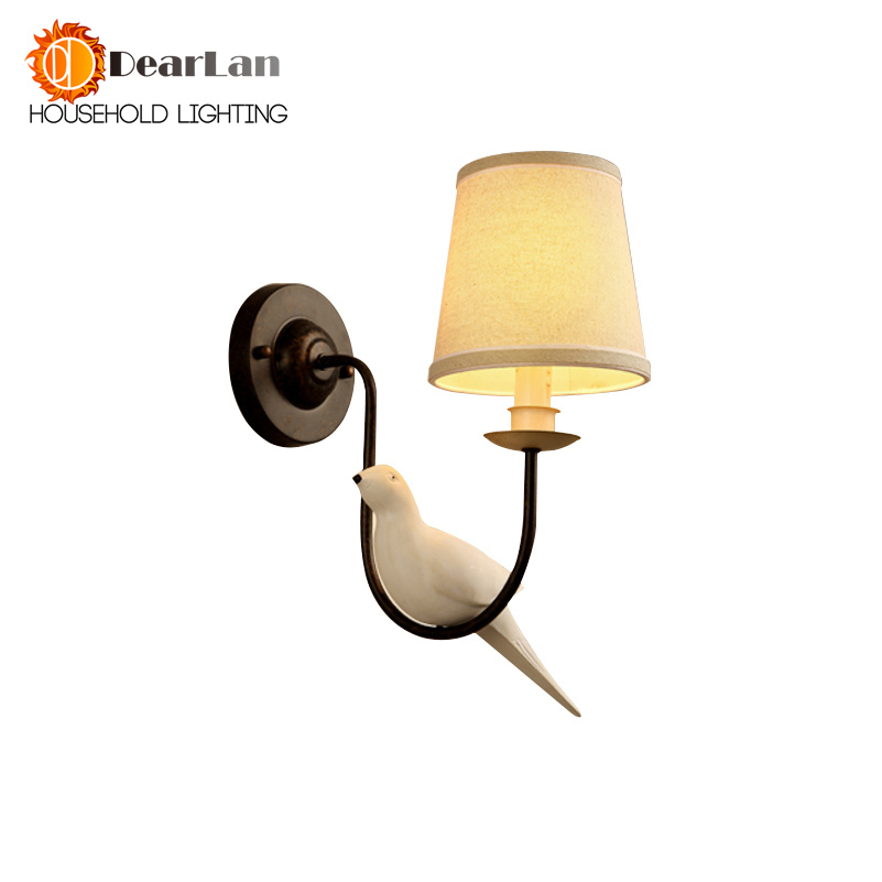 Nordic Iron Vintage American Wall Lamp LED Bedside Lamp Wall Light Birdie Pastoral Personality Resin Bird Dropping Lights(BV-50)<br>