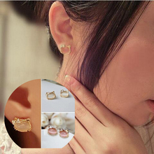 2016 Hot Sale Special Offer Zinc Alloy Animal Women Brinco For Hello Kitty Jewelry With Cute For Cat Stud Earrings Female E111