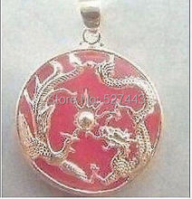 Wholesale free shipping >>China dragon phenix pink// stone pendant and necklace(China)