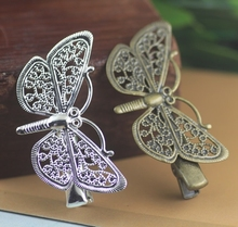 100pcs/lot) 25x43mm Metal Hairpins Brass Antique Bronze / Silver Butterfly Hairclips Accessory Crocodile Clip Hairwear Wholesale