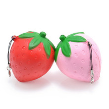 Jumbo Strawberry Squishy Slow Rising Pink Red Straps Sweet Cream Charms Pendant Bread Kids Toy Gift Lanyard Mobile Phone Strap