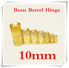 10pcs 10mm Brass Barrel Hinge Cylindrical Hidden Cabinet Hinges Concealed Invisible Mortise Mount Hinge(China)