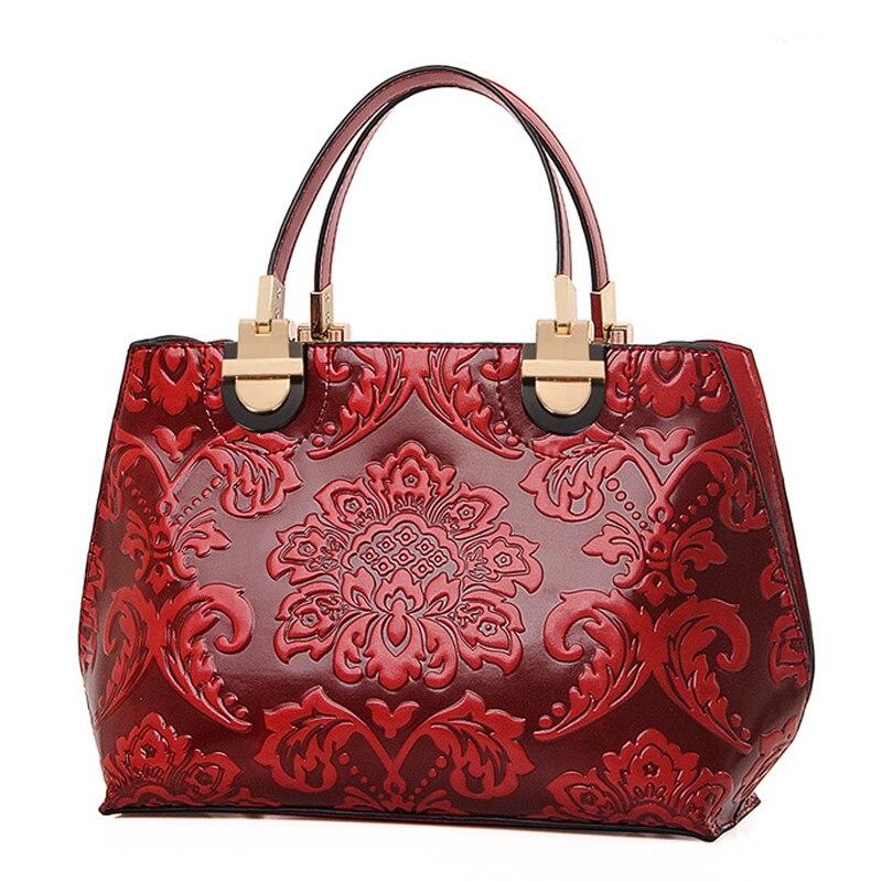 Charm in hands Genuine Leather Bags Flower Medium Women Shoulder Bags Elegant Female Tote Vintage Retro Women Handbags<br>