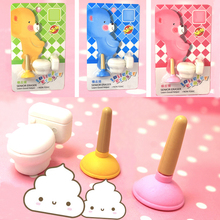 One Set Pink Cute Kawaii Toilet Plunger Rubber Blue Eraser And Pencil Student Learning Stationery For Child Creative Gift(China)