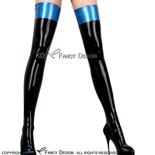 Buy Black Metallic Blue Top Sexy Long Latex Stockings Short Zipper Side Rubber Thigh High Stockings WZ-0030