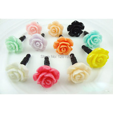 Wholesale New Rose Flower Design Dust Plug For Iphone Dust Cap For 3.5mm Plug Mobile Phone Free Post 500pcs/lot