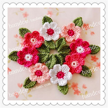 2016 Japanese popular 24 pics natural cotton crochet lace decorative wedding flower with petals party decoration cherry blossom(China)
