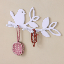 DIY wood decorative wall hooks wall hanger storage rack shelf for coat clothes key home decor bird/love