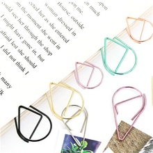 10Pcs 50pcs Metal Water droplets Shape Paper Clips Colorful  Kawaii Bookmark Office School Stationery Marking Album Clips