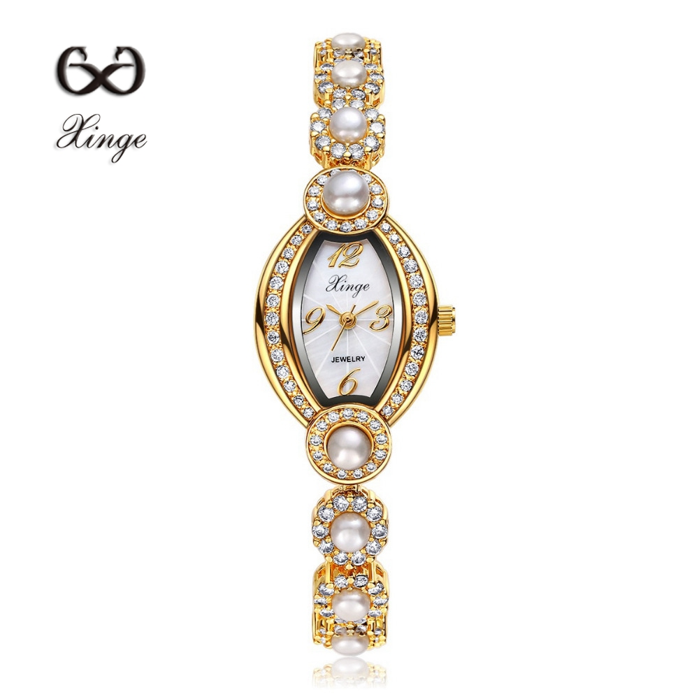 Xinge Brand Zircon Copper Gold Pearl New Women Luxury Fashion Wristwatch Gold Rhinestone Quartz Ladies Casual Dress Watches<br>