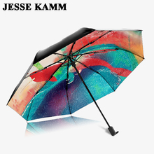 JESSEKAMM Multi Color Umbrellas For Mother Compact Folding Strong For Women Men Ladies Rain And Sun sunshade Best choice Pongee
