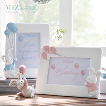 Miz 1 Piece Photo Frame for Kids Naughty Rabbit Figure Lovely Bunny Dolls Cute Desk Accessory Room Decor for Children(China)
