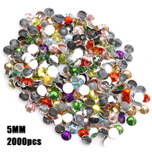 2000pc 5mm Round Rhinestone Clear Crystal Cabochon 5mm Flatback Beads For DIY Nail Phone Decorations Bracelet Making Accessories(China)