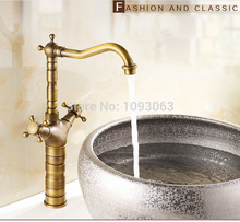 European Antique Copper Pot Faucet Basin Mixer Hot and Cold Taps Single Hole Retro
