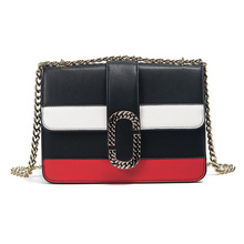 2017 Women Chain Messenger Bags Famous Brand Patchwork Design Hand Bags Shoulder Crossbody Bags Black White Red Color Sac A Main