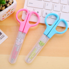 2016 New DIY Cute Tool Student Scissors Paper Cutting Art Office School Supplies with Cap Kids Stationery