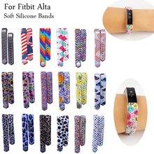 Large & Small Size Fitbit Alta Silicone Wristband Bracelet Strap Sport Wrist Support Strip Band with Fastener for Alta 24 Colors(China)