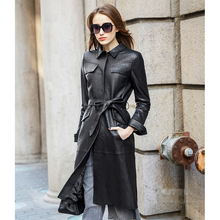 Leather suede sheepskin coat women high end fashion genuine leather jacket single leather trench long design New Phoenix(China)