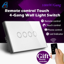 AU/US Standard, New 1000W Crystal Glass Panel wireless remote control light switch, 4 Gang 1 way 240V Touch Switch Wall Swtich