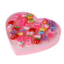 Mixed Cute Cartoon Flower Metal Resin Girls Children Adjustable Rings Finger Jewelry Pink Heart Shaped Box 36pcs